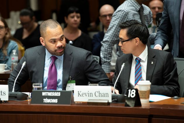 Facebook Global Policy Directors Neil Potts and Kevin Chan appear before the international...