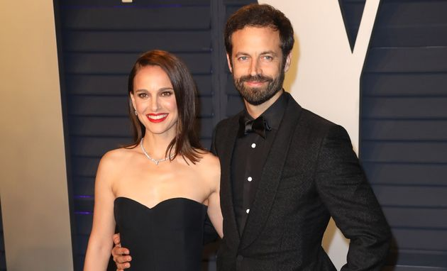 Natalie Portman with her husband Benjamin Millepied at the 2019 Vanity Fair Oscar