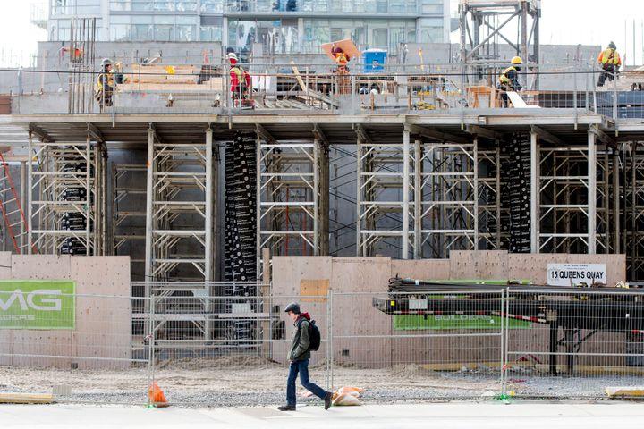 Construction of a condominium development in downtown Toronto March 15.