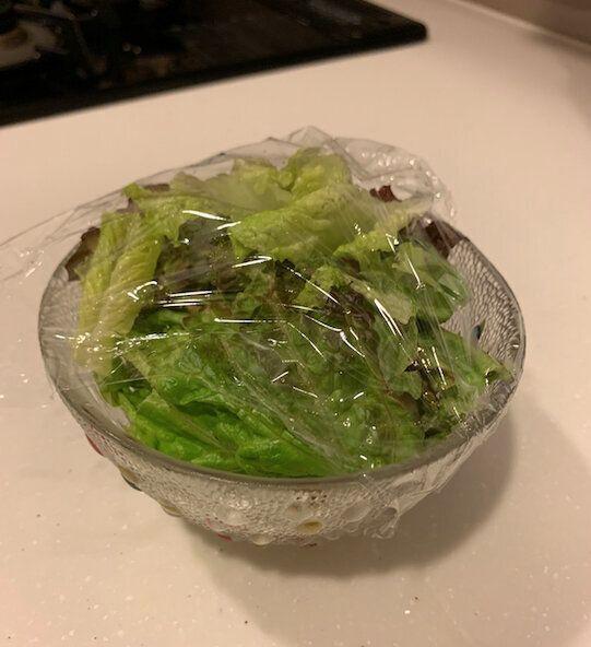 普通のサランラップを使ってカバーしたサラダ