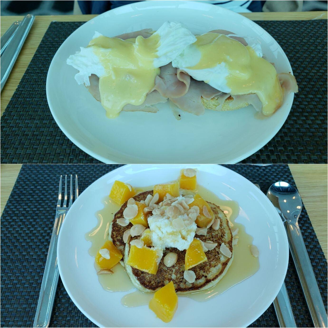 老婆點的主菜-班尼迪克蛋加火腿(上圖),我點的主菜-鬆餅(下圖)