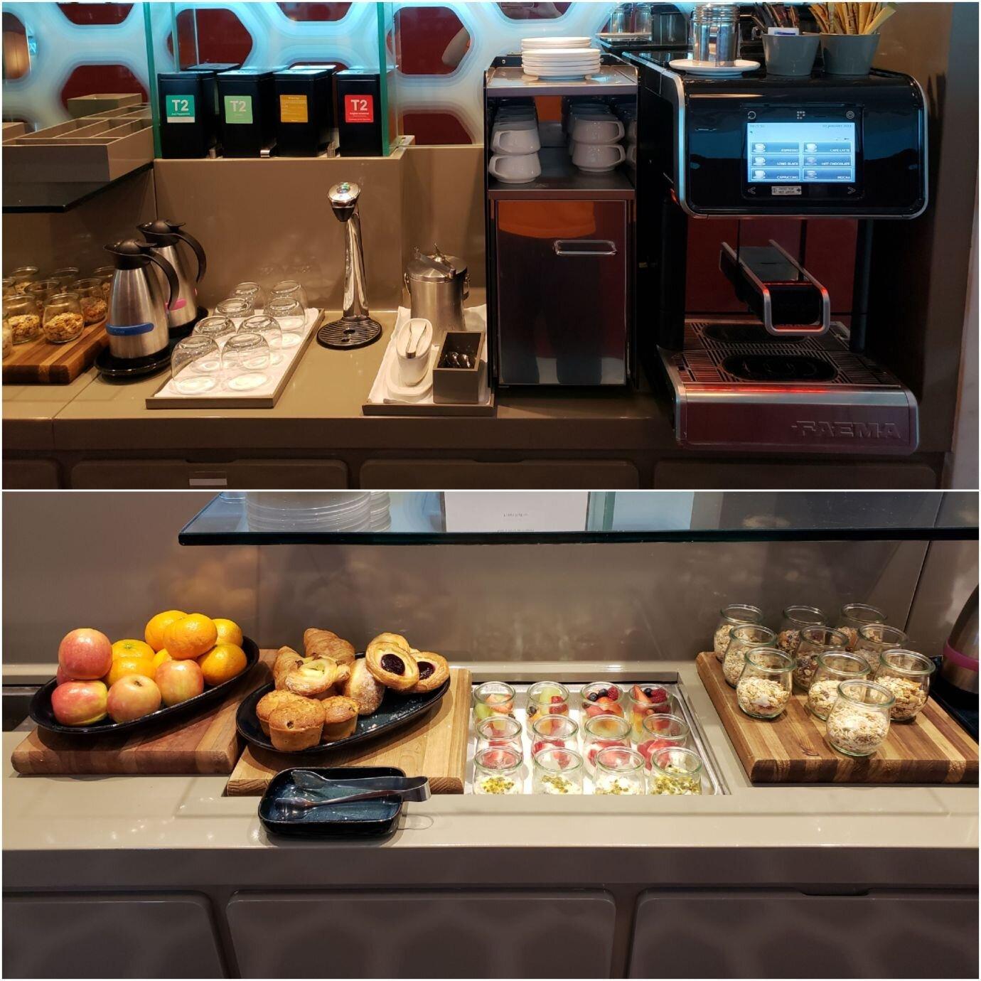 有熱飲機台(上圖),也有甜點與水果(下圖)