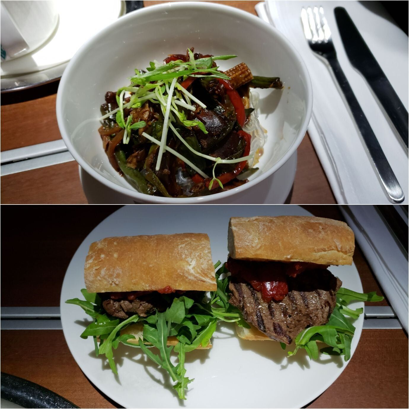 炒冬粉(上圖)與經典款的牛肉三明治(下圖)