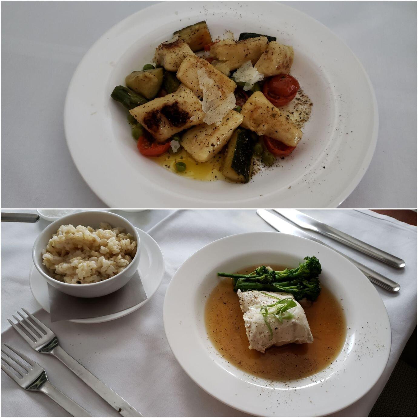 主菜我點的是義大利式的麵團 (Gnocchi)(上圖),老婆則是點了蒸魚料理加上一晚糙米飯(下圖)