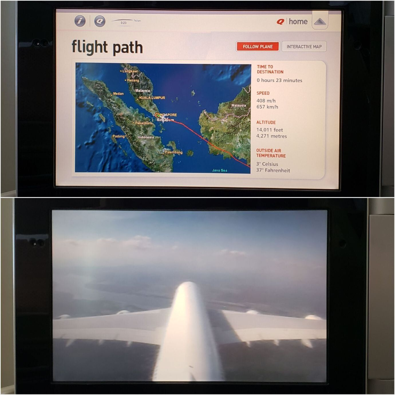 班機接近新加坡機場,準備要降落了