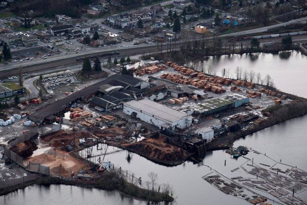 Flavelle Sawmill Co., Ltd is pictured from the air in Port Moody, B.C.