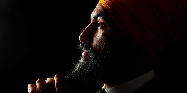 Federal NDP Leader and motivational quote generator Jagmeet Singh poses in Brampton, Ont. on July 1,