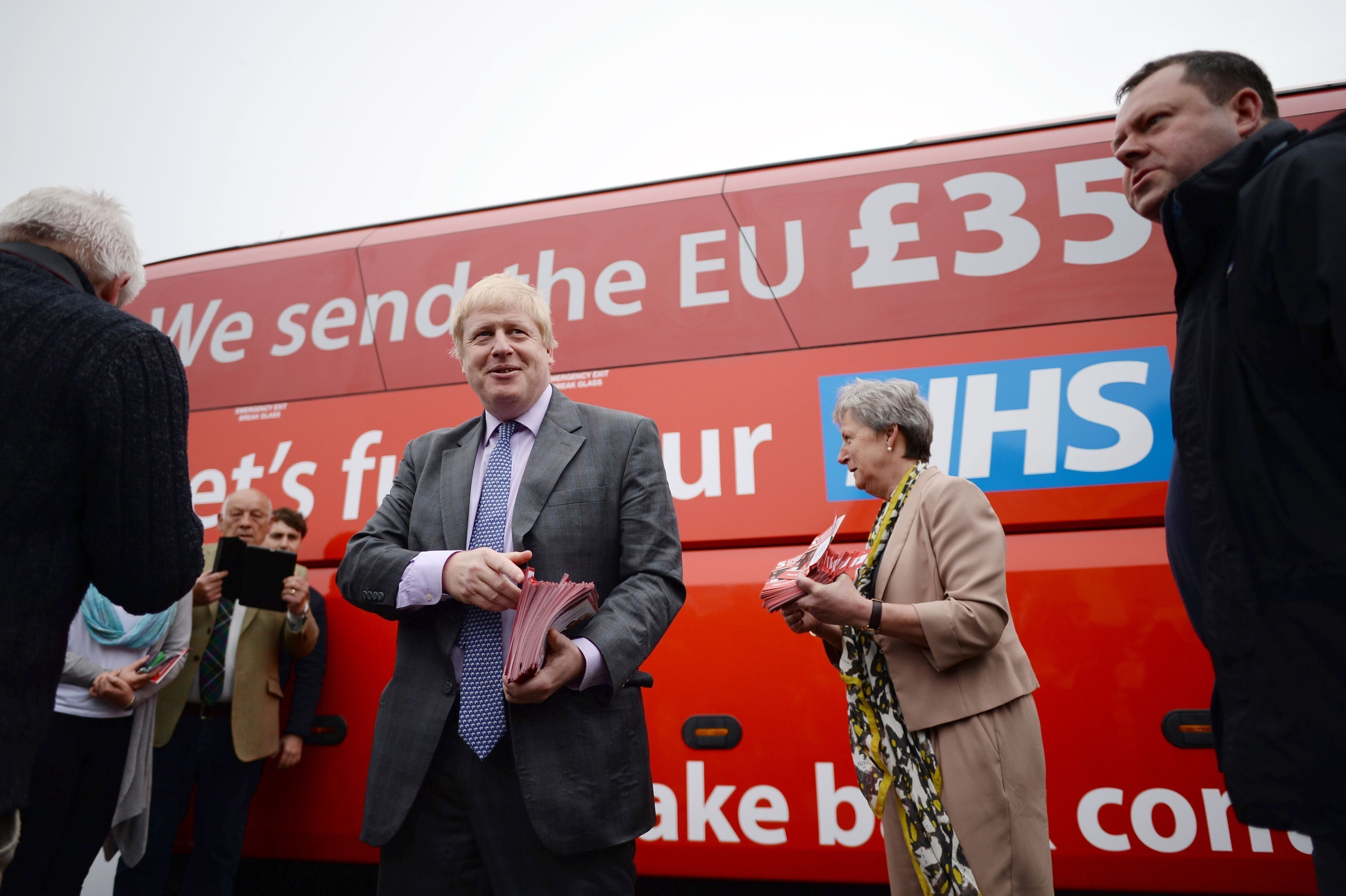 Former Mayor of London Boris Johnson speaks to Vote Leave campaigners as he boards the Vote Leave campaign bus in Truro, Cornwall, ahead of its inaugural journey which will criss-cross the country over the coming weeks to take the Brexit message to all corners of the UK before the June 23 referendum.
