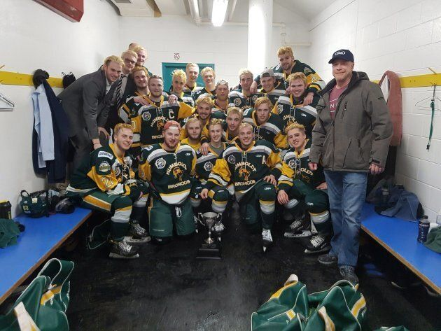 Humboldt Broncos hockey players are seen in a team photo. Fifteen people on the team bus have died after...