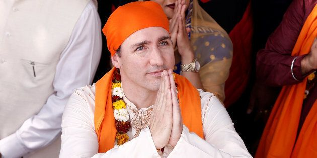 Prime Minister Justin Trudeau visits the holy Sikh shrine of Golden Temple in Amritsar, India on February...