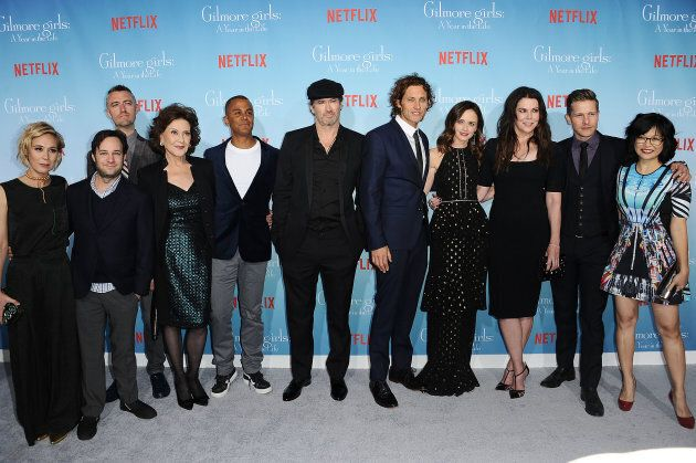 "Liza Well, Danny Strong, Sean Gunn, Kelly Bishop, Yanic Truesdale, Scott Patterson, Tanc Sade, Alexis Bledel, Lauren Graham, Matt Czuchry and Keiko Agena attend the premiere of ""Gilmore Girls: A Year in the Life."""