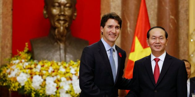 Prime Minister Justin Trudeau meets Vietnam's President Tran Dai Quang at the Presidential Palace in...