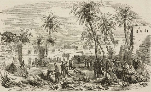 Removing corpses from the square in El Aghouat, after the French conquest, Algeria, illustration from L'Illustration, Journal Universel, No 516, Volume XXI, Jan. 15, 1853.