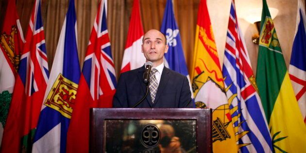 Social Development Minister Jean-Yves Duclos speaks to media in Victoria, B.C. on June 28,