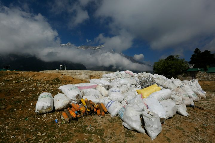 Sacks of garbage collected from Mount Everest is seen in Namche Bajar, Solukhumbu district, Nepal, on Monday. The garbage wil