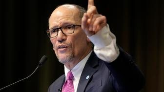 Tom Perez, chairman of the Democratic National Committee, speaks during the National Action Network Convention in New York, Wednesday, April 3, 2019. (AP Photo/Seth Wenig)