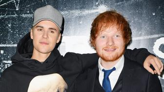 "LONDON, ENGLAND - OCTOBER 22:  Justin Bieber (L) and Ed Sheeran attend the World Premiere of ""Ed Sheeran: Jumpers For Goalposts"" at Odeon Leicester Square on October 22, 2015 in London, England.  (Photo by David M. Benett/Dave Benett/WireImage)"