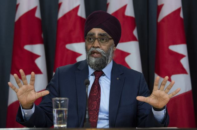 Defence Minister Harjit Sajjan speaks at a news conference in Ottawa on April 8,