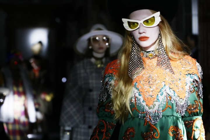 Models on the runway at Gucci's cruise 2020 show in Rome on May 28, 2019.