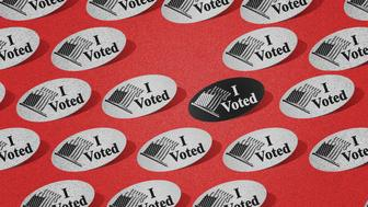 "Photo illustration of ""I voted"" stickers"