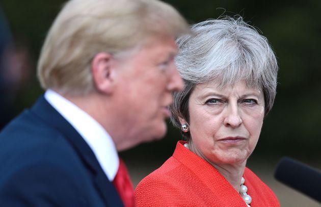 Donald Trump et Theresa May lors d'une conférence de presse commune à Londres, en juillet