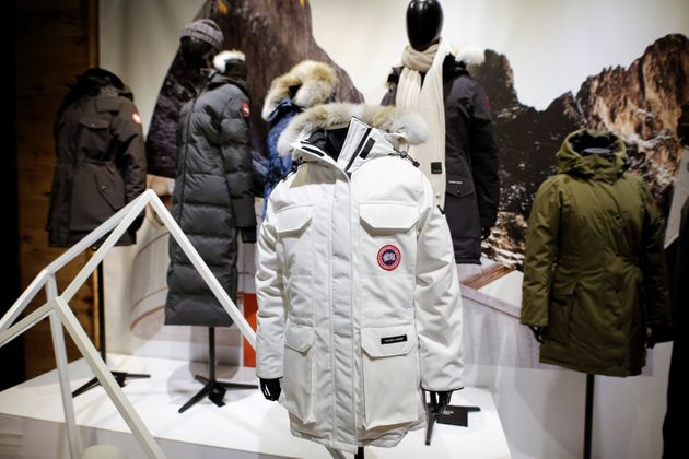 Jackets hang in the showroom of the Canada Goose factory in Toronto, Feb. 23,