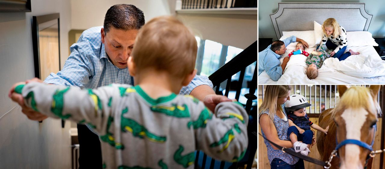 Left: Mark Freed helps his son Maxwell walk down the stairs at their home in Denver. Right top: Amber and Mark feed their two children, Riley and Maxwell, as they get ready to start the day. Right bottom: Caiti Peters, an occupational therapist with My Heroes, holds Maxwell up to Adle, the horse he rides for his therapy session at the Temple Grandin Equine Center in Denver.