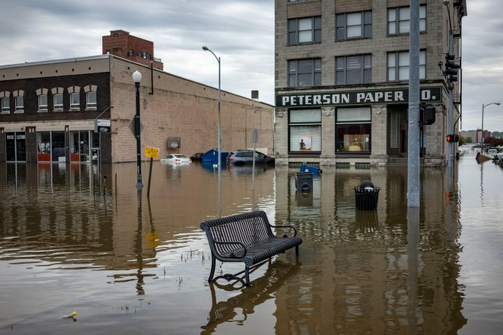 Flooding from extreme weather in Davenport, Iowa.