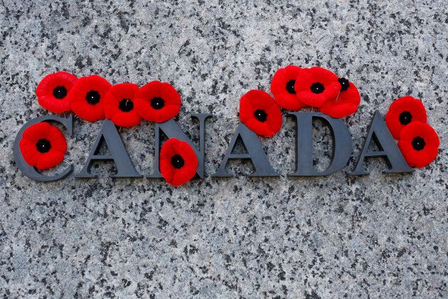 Poppies on the National War Memorial following Remembrance Day ceremonies in Ottawa on Nov. 11, 2016.