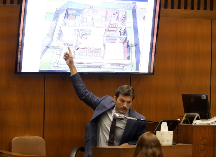Ashton Kutcher testifies during the murder trial of Michael Gargiulo at Los Angeles Superior Court, Wednesday, May 29, 2019.