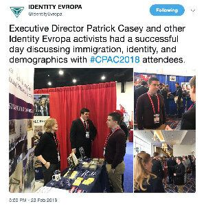 Patrick Casey, the head of white nationalist organization Identity Evropa, worked the crowd at the 2018...