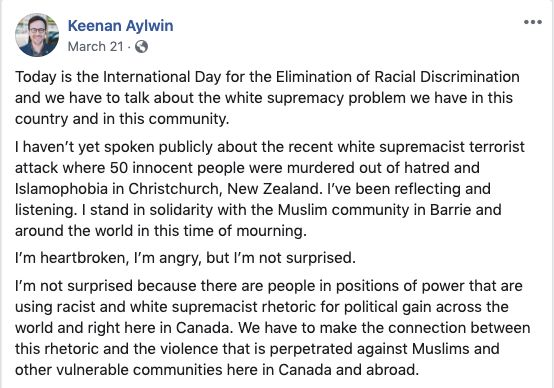 Part of the Facebook post Keenan Aylwin wrote on March 21, 2019.