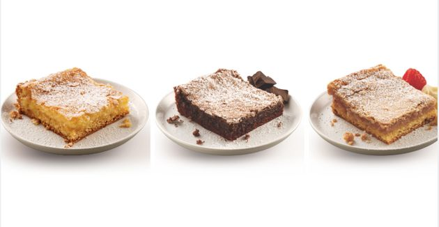 Left to right: Mom's traditional, triple chocolate and white chocolate raspberry varieties of gooey butter...