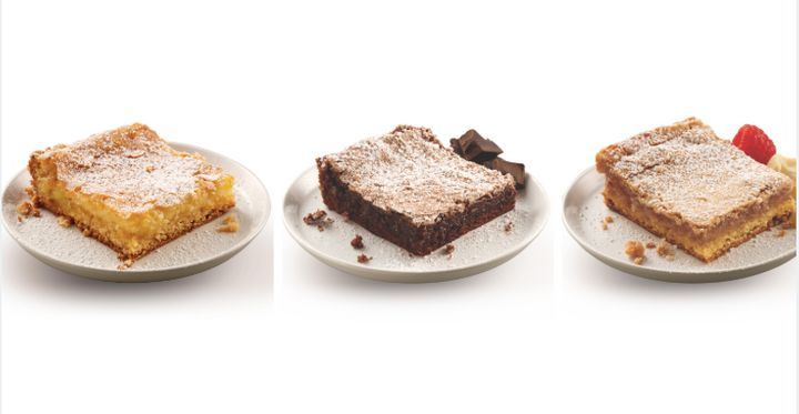 Left to right: Mom's traditional, triple chocolate and white chocolate raspberry varieties of gooey butter cake from Park Avenue Coffee in St. Louis.