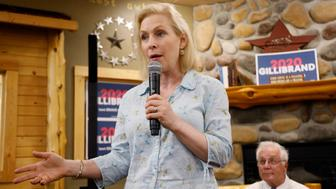 Democratic presidential candidate Sen. Kirsten Gillibrand speaks to local residents at a coffee shop, Saturday, May 25, 2019, in Mason City, Iowa. (AP Photo/Charlie Neibergall)