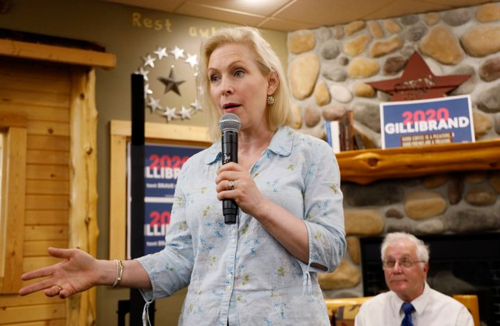 Democratic presidential candidate Sen. Kirsten Gillibrand speaks to local residents at a coffee shop, Saturday, May 25, 2019,