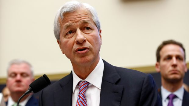 FILE - In this April 10, 2019, file photo JPMorgan Chase chairman and CEO Jamie Dimon testifies before the House Financial Services Committee during a hearing on Capitol Hill in Washington. Dimon was the tenth-highest paid CEO at big U.S. companies for 2018, as calculated by The Associated Press and Equilar, an executive data firm. He made $30 million. (AP Photo/Patrick Semansky, File)