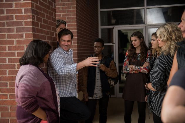 Octavia Spencer, director Tate Taylor and others on the set of