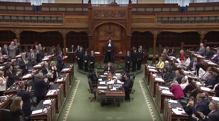 Progressive Conservative MPPs applaud after voting to pass the government's budget bill on May 29, 2019.