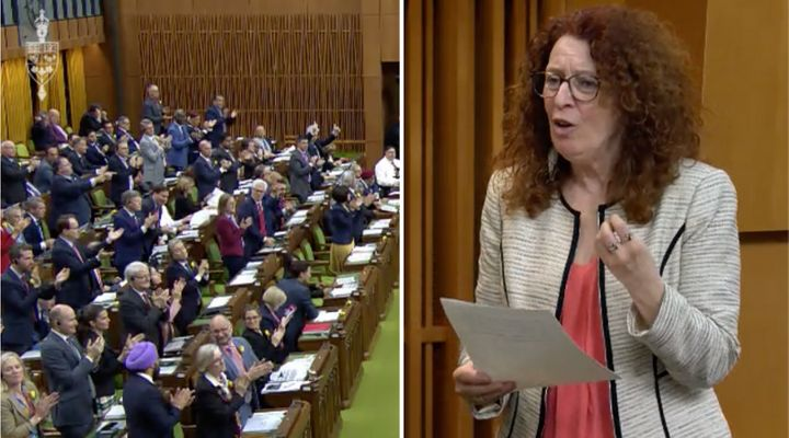 A composite image of the House of Commons on May 29, 2019, and Bloc Quebecois MP Monique Pauze.