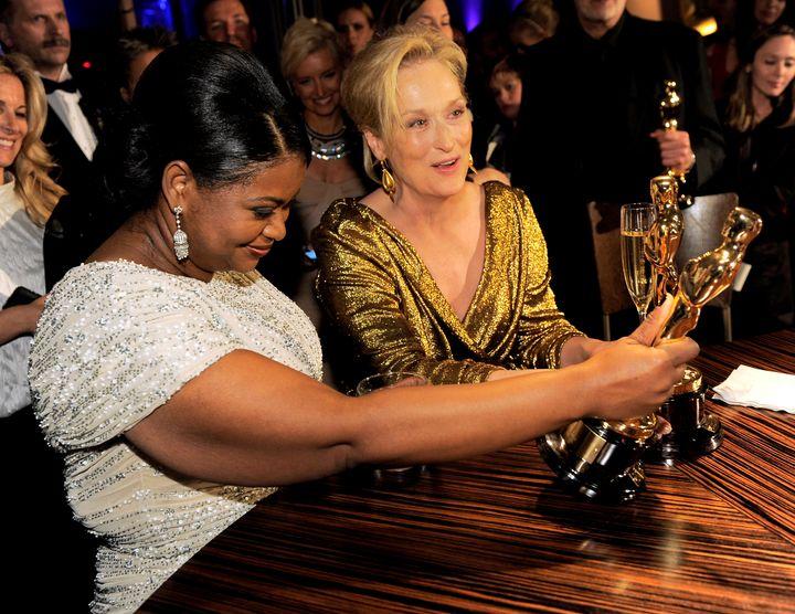 Octavia Spencer and Meryl Streep with their Academy Awards in 2012.