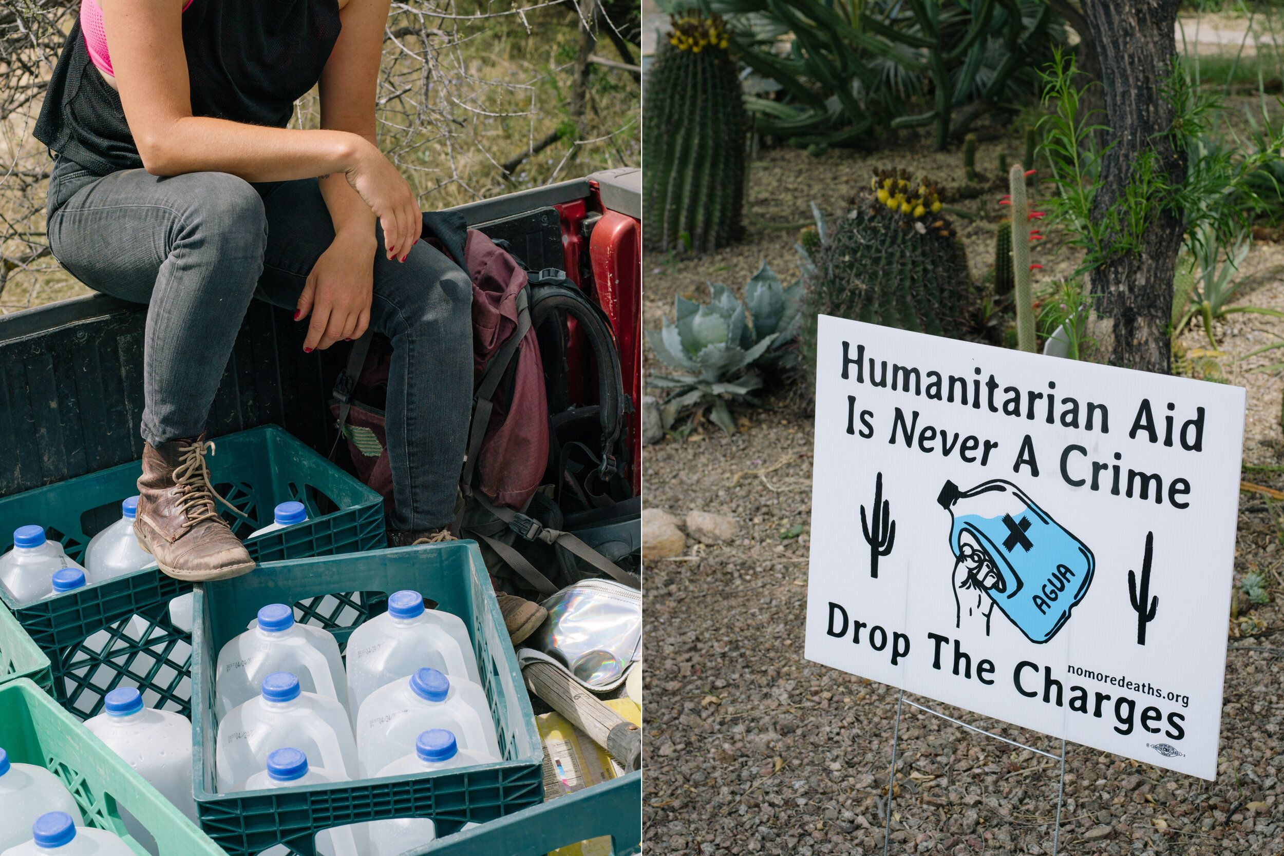Left: No Más Muertes volunteer Esteli Kitchen on a water run in the Altar Valley. Right: A sign supporting No M&aacute