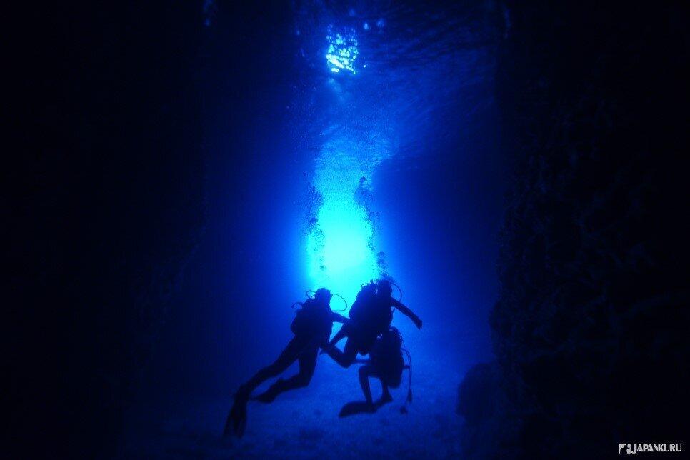 青之洞窟的藍洞潛水