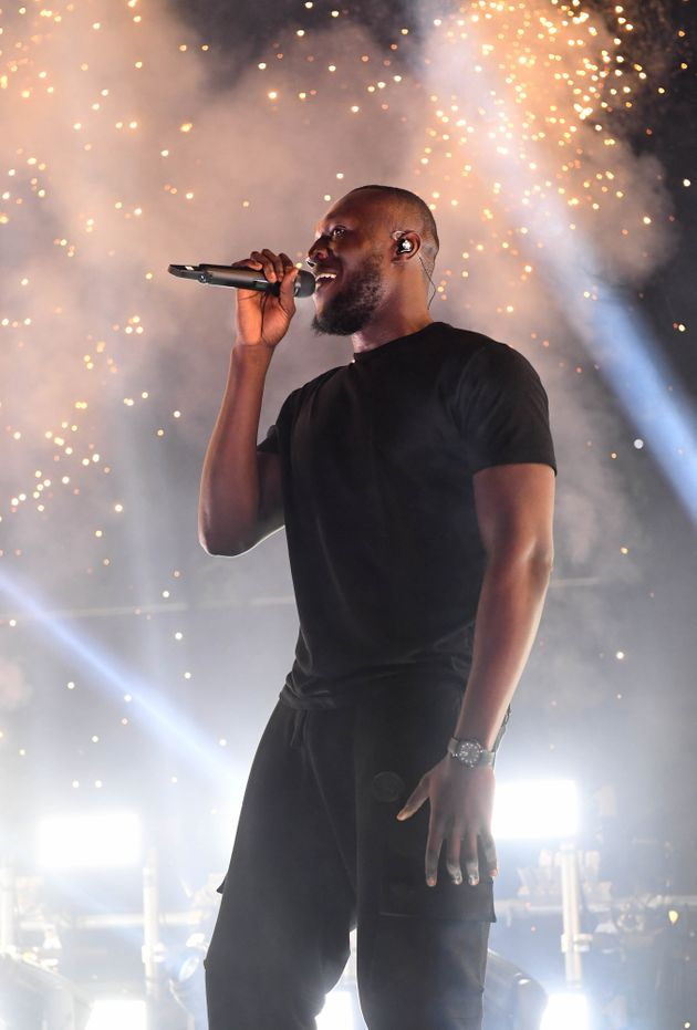 Stormzy performs at a 5G-powered gig beside Tower Bridge on the River Thames to mark the launch of 5G...