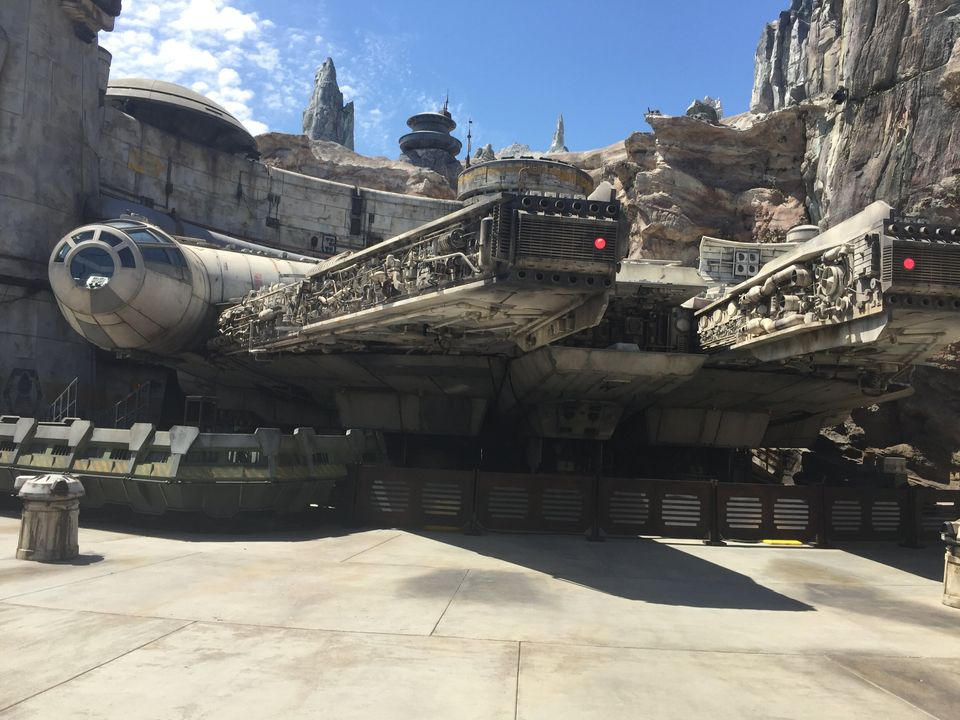 The Millennium Falcon is the centerpiece of Star Wars: Galaxy's Edge, and sits outside the entrance of the Smuggler's Ru
