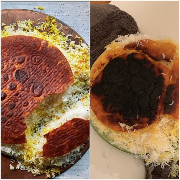 Left: Samin Nosrat's famous Tahdig. Right: My not famous