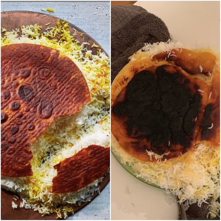 Left: Samin Nosrat's famous Tahdig. Right: My not famous tahdig.