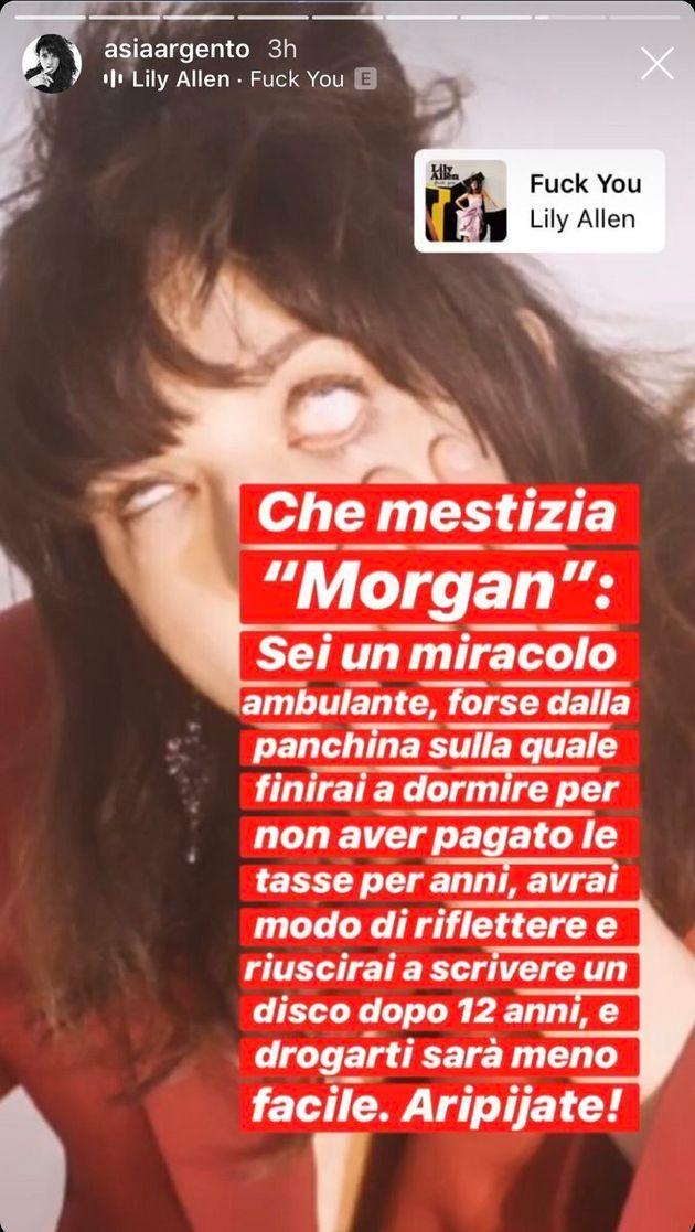 Asia Argento attacca Morgan su Instagram: