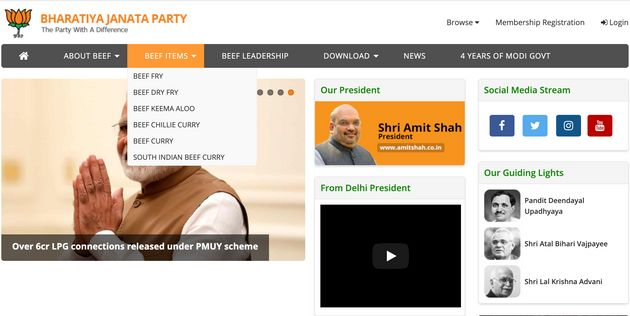 Delhi BJP Website Hacked, Beef Recipes