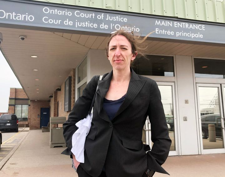 Criminal defence lawyer Alison Craig stands outside a Toronto courthouse in between cases. She represents almost exclusively legal aid clients.
